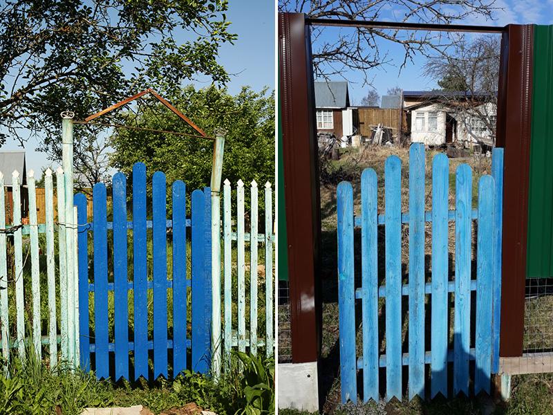 Мы построили на дачном участке новый забор, но калитку пока оставили прежнюю, потому что просто не хватило материалов