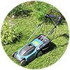 Хорошая газонокосилка с большим бункером поможет вам на даче собрать необходимое количество травы для мульчирования овощных грядок и кустов смородины.                     Мы у себя на участке даже косим травку на соседском заброшенном землевладении. Если этого не делать, пространство зарастет и станет непроходимым.