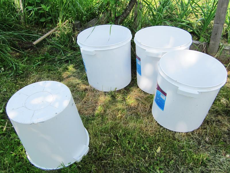 Фотография четырех больших пластиковых ведер, стоящих на траве на даче