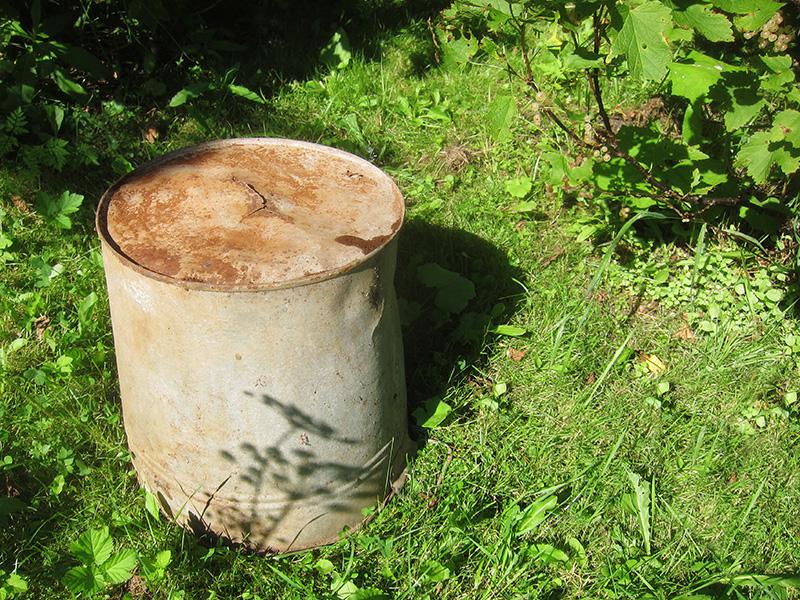 Это старое ведро мы используем в туалете, но иногда применяли для полива растений