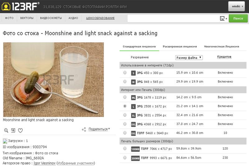 Сегодня фотобанк «123RF» продал мою картинку со стаканом якобы самогона
