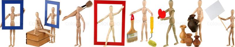 Восемь моих фотографий деревянных манекенов в Фотобанке «ColourBox»
