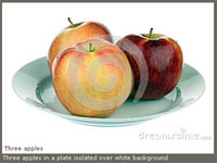 Фотография «Три яблока на тарелке» в фотобанке «Dreamstime»