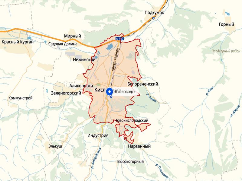Город Кисловодск Ставропольского края на Яндекс-Карте