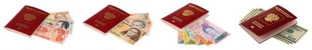 Фотографии с моим загранпаспортом и банкнотами разных стран мира