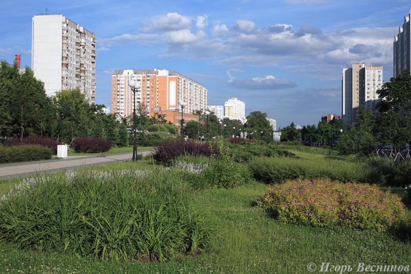 Вид на улицу Митинскую в Москве, Россия